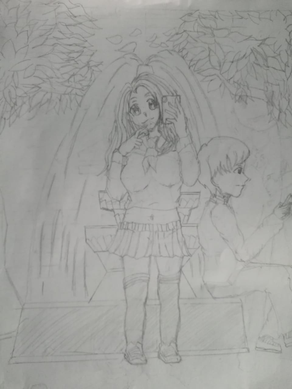 The fountain in the high school Illust of Jal YandereSimulatorFanArtContest AnalogDrawing