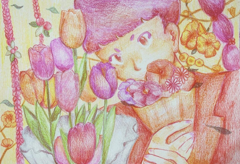 Color Pencil Flowers Illust of 尤 April2021_Flower flower coloredpencil 畫畫 Artwork illustration 插画,原创 illustrations